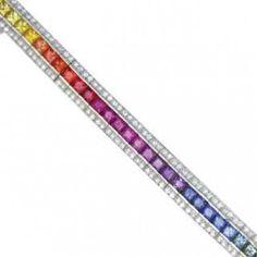 Multicolor Rainbow Sapphire & Diamond Tennis Bracelet 18K White Gold (9.5ct tw) SKU: 411-18K-Wg on Etsy, $5,468.00