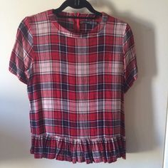 Primark Atmosphere Plaid Top Worn a couple of times. Purchased in London. Zippered back. Fits like a medium/large. UK 12   NO TRADES! NO PAYPAL! NO MODELING! Forever 21 Tops Blouses