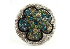 OUTLINED CLOVER FLOWER STRETCH RING 4 TONE GREEN MIX (RHODIUM PLATING)