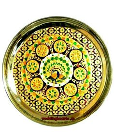 Meenakari plate.Best for puja purpose and festive /special occasions/wedding purpose.