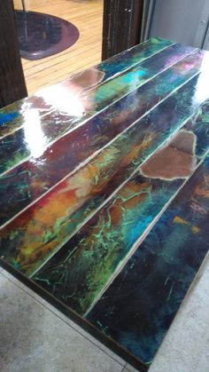 colorful painted coffee table faux bronze patina reclaimed wood coffee table, vintage door pipe leg frame industrial, art lover gift is part of Repurposed furniture abstract art on hand painted tab - Industrial Design Furniture, Funky Furniture, Paint Furniture, Repurposed Furniture, Furniture Projects, Furniture Makeover, Vintage Furniture, Luxury Furniture, Indian Furniture