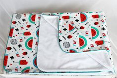 Minky Baby Blanket for Girl White Red turquoise Watermelon