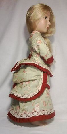 Victorian late 1800 A Girl for all time green bustle dress Cotton Lace, Cotton Fabric, Bustle Skirt, Lawn Fabric, Fitted Bodice, Beautiful Roses, Girl Dolls, American Girl, Pixie