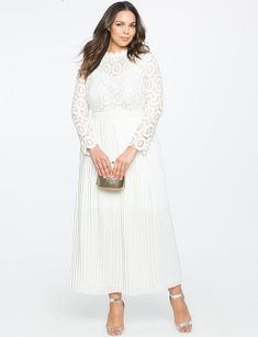 View our Lace Evening Dress with Pleated Skirt and shop our selection of designer women's plus size Dresses, clothing and fashionable accessories. Handmade Wedding Dresses, Modest Wedding Gowns, Wedding Gowns With Sleeves, Affordable Wedding Dresses, Boho Wedding Dress, Wedding Dress Styles, Bling Prom Dresses, Plus Size Dresses, Nice Dresses