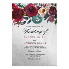 Romantic Burgundy Silver Floral Wedding Invitation - spring gifts beautiful diy spring time new year #romanticgifts