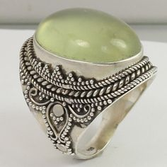 Handcrafted Ring Size US 8 Real PREHNITE Oval Gemstone 925 Solid Sterling Silver #Unbranded