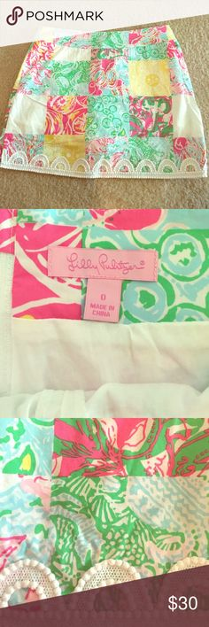 Lilly Pulitzer Patchwork Skirt Skirt: 100% cotton, Lining: 97% cotton, 3% spandex. Worn twice. Lilly Pulitzer Skirts Mini