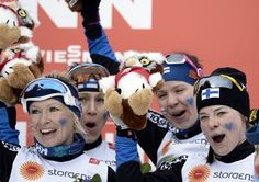 Finland wins the bronze medal in the women's cross-country relay at the skiing world championships.