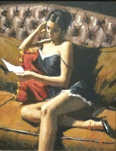 Available for sale from Hepplestone Fine Art Ltd, Fabian Perez, Study for Saba with Letter VIII Acrylic, 18 × 14 in Fabian Perez, Woman Painting, Figure Painting, Pulp Fiction Art, Scary Dogs, Art Themes, Horror Art, Pretty Art, Erotic Art