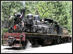 Built in 1913 by Lima Locomotive Works in lima, Ohio, this oil burning Shay locomotive hauls tourists around the former Sugar Pine logging operation near Yosemite National Park. It's an impressive piece of machinery!