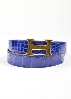 """Men's Gold Toned 'H' Prong Buckle and Blue Alligator Hermes """"Constance"""" Belt"""