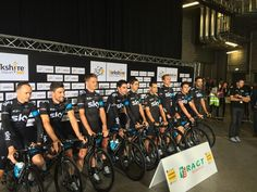 The riders posed for a few photos after coming offstage at the #TDF presentation.