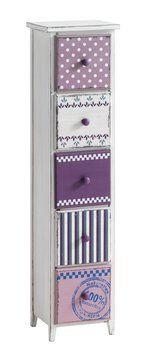 Komoda SELBY 5 szuflad fiolet/biała