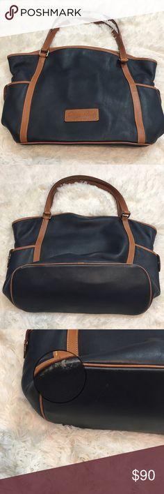 Blue Leather W Brown Shopper Dooney   Bourke Large.Blue Leather W Brown  Shopper Handbag Purse Tote Nice bag! Regular use! d089f30a2b