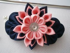 Handmade Kanzashi ladies women grosgrain ribbon french barrette - hair accessories in UK,shipping worldwide- fabric flower fascinator