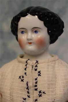"15-1/2"" Antique CHINA HEAD LADY Doll 1860s Original Cloth Body with China Limbs"