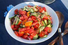 Salada de Melancia, Tomate e Pepino