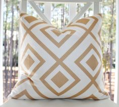 Decorative Geometric Pillow   Ivory Camel Taupe by MotifPillows, $40.00