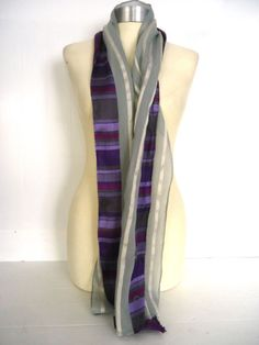 WOMENS TED BAKER LONDON NATURAL SILK COTTON BORDER SCARF SILVER GREY PURPLE
