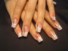 How to decorate fingernails. An attractive look and manicured hands is something that every woman wants, and clearly a nicely done manicure always helps. Today fashion points to. Plaid Nail Designs, Toe Nail Designs, Nails Design, Nail Art Images, Nail Art Pictures, Plaid Nails, Striped Nails, French Nails, Black And White Nail Art