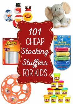 101 Cheap Stocking Stuffers for Kids - Santa can stuff the kids' stockings on the cheap with these fun yet frugal stocking stuffers. You'll find ideas for kids of all ages from 0 to teens and most items are under $10 which makes it easy on Santa's wallet