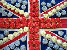 British flag & frosted cupcakes. #HarrodsWindows