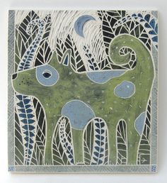 curly tailed dog hand-carved ceramic art tile