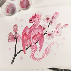 Tiny Sakura dragon Spring is coming! 🌸 ✨Watercolors on a Canson paper Cute Dragon Drawing, Dragon Sketch, Dragon Drawings, Cute Fantasy Creatures, Mythical Creatures Art, Fantasy Drawings, Art Drawings Sketches, Pencil Drawings, Creature Drawings