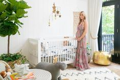 When a designer's nesting vibe kicks in, we can't wait to see the results. Christina fashioned a beautifully welcoming nursery with all the essentials — no style sacrificed. Bamboo Roof, Wood Plank Ceiling, Upstairs Loft, Nursery Pictures, Neutral Color Scheme, Modern Dresser, Boho Nursery, Modern Farmhouse Style, Loft Spaces