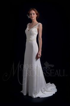 fit to flare skirt with a chapel train - Modern Trousseau Fall 2016 Wedding Dresses | itakeyou.co.uk #weddinggown #weddingdress