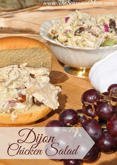Dijon Chicken Salad on MyRecipeMagic.com: This light and healthy chicken salad is easy to prepare and is full of tastes and textures. Almonds, celery, onion, and raisins give it crunch and sweetness that pair perfectly with the mild chicken.