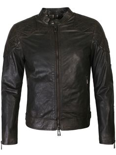Belstaff Outlaw Waxed Leather Jacket Black - Worn by David Beckham in the film Outlaws, this outlaw jacket from Belstaff is crafted from traditional hand waxed leather and features a press stud fastening collar, two way front zip closure and diamond quilting on shoulders & elbows. It also features the signature leather belstaff logo patch to left sleeve, two front zipped pockets and buckle fastening hem tabs. Furthermore it has zipped pockets, checked lining and internal pockets.