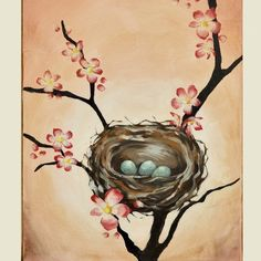 Cherry Blossom Tree Nest Painting - Asian Inspired Love by thePaintedSky
