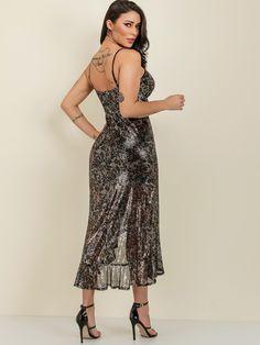 7023863b28e9 Asymmetrical Ruffle Hem Sequin Leopard Slip Midi Dress - Popviva  #SequinDress #MeshDress #BandageDress