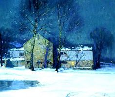painting of a barn by George Sotter