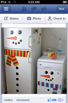 Fridge decorated for the winter months