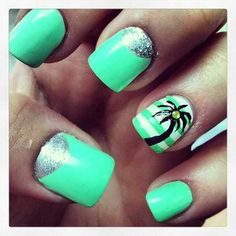 Love the palm tree accent nail!  I'll use a different color for the base, though.