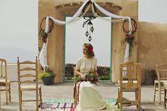 Boho wedding in Santorini- wedding ceremony