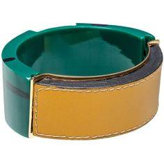 Marni Bracelet (£210) ❤ liked on Polyvore featuring jewelry, bracelets, emerald, bangle bracelet, bracelets & bangles, tri color bracelet, hinged bracelet and leather bracelet
