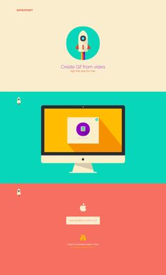 Minimal One Pager for 'Gifrocket' - a super simple video to gif converter for OS X. Lovely touch with the back-to-top rocket taking off when you're at the top of the page again.