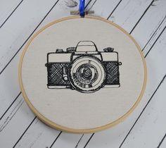 Retro Camera Hoop Art - Machine Embroidered Art