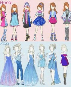 Love these different outfits for Anna and Elsa soooooooooo cute ( ; ( =