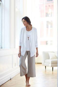 Pure Jill drape-front cardigan and full leg crops