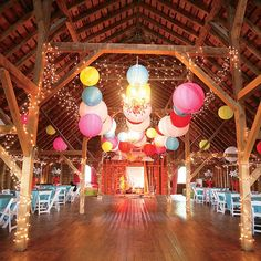circus reception lighting | Twinkle lights and paper lanterns as wedding ... | Circus Themed Wedd ...