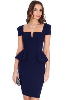 Amy Childs highlights her slender curves in a figure-hugging navy pencil dress Ruched Dress, Peplum Dress, Bodycon Dress Parties, Party Dresses, Tight Dresses, Fitted Dresses, Pencil Dress, Chic, Fashion Outfits