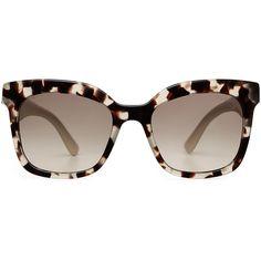 Prada Sunglasses PR24QS ($165) ❤ liked on Polyvore featuring accessories, eyewear, sunglasses, glasses, multicolor, tortoise shell glasses, oversized glasses, oversized sunglasses, prada sunglasses and acetate glasses