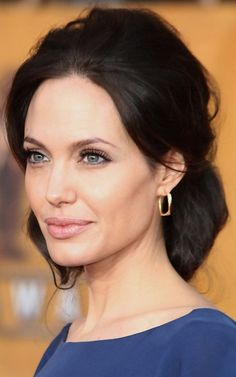 Angelina Jolie Long Hairstyle: Black Hair with Loose Bun (for M's wedding)