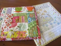 Quilt as you go potholders via pieceful: Summer Table