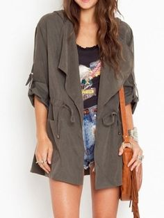 Shop Gray Hooded Drawstring Roll Up Sleeve Trench Coat from choies.com .Free shipping Worldwide.$61.19