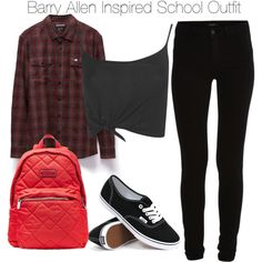 Barry Allen Inspired School Outfit by staystronng on Polyvore featuring RVCA, Boohoo, VILA, Vans, Marc by Marc Jacobs, school, tf, theflash and barryallen